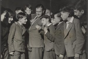 Frank Hampson with young fans of the Eagle