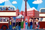 Painting of people getting off a bus in a busy city centre